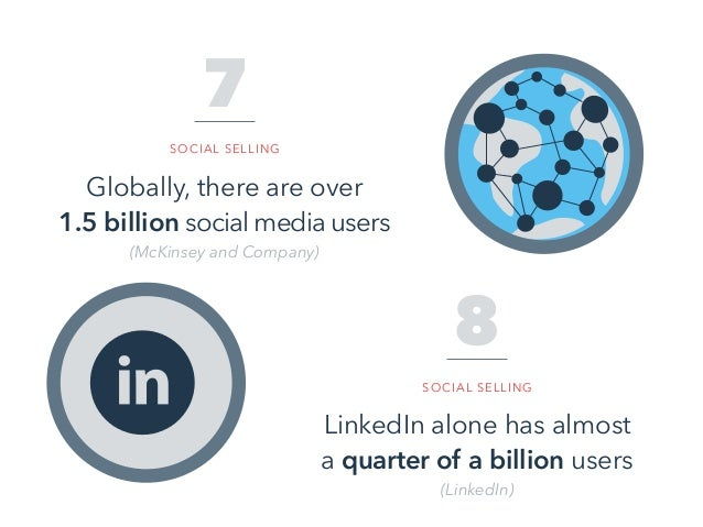 Globally, there are over 1.5 billion social media users (McKinsey and Company) 7 SOCIAL SELLING LinkedIn alone has almost ...