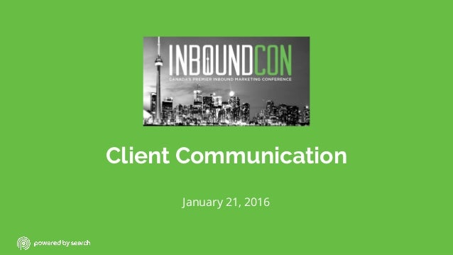 Client Communication January 21, 2016