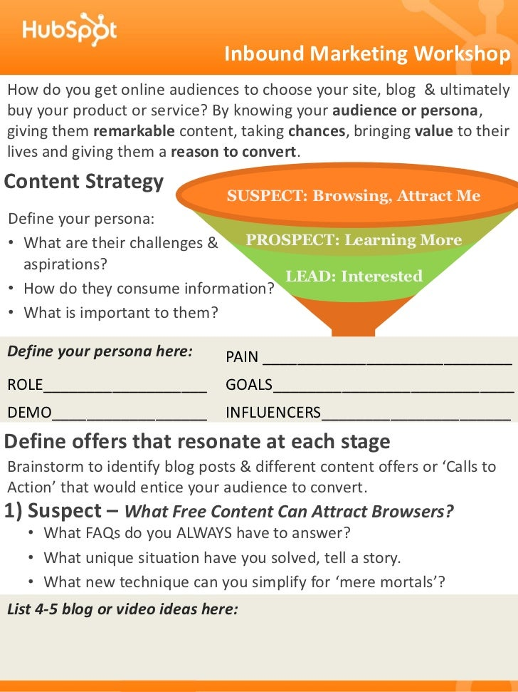 Inbound Marketing WorkshopHow do you get online audiences to choose your site, blog & ultimatelybuy your product or servic...