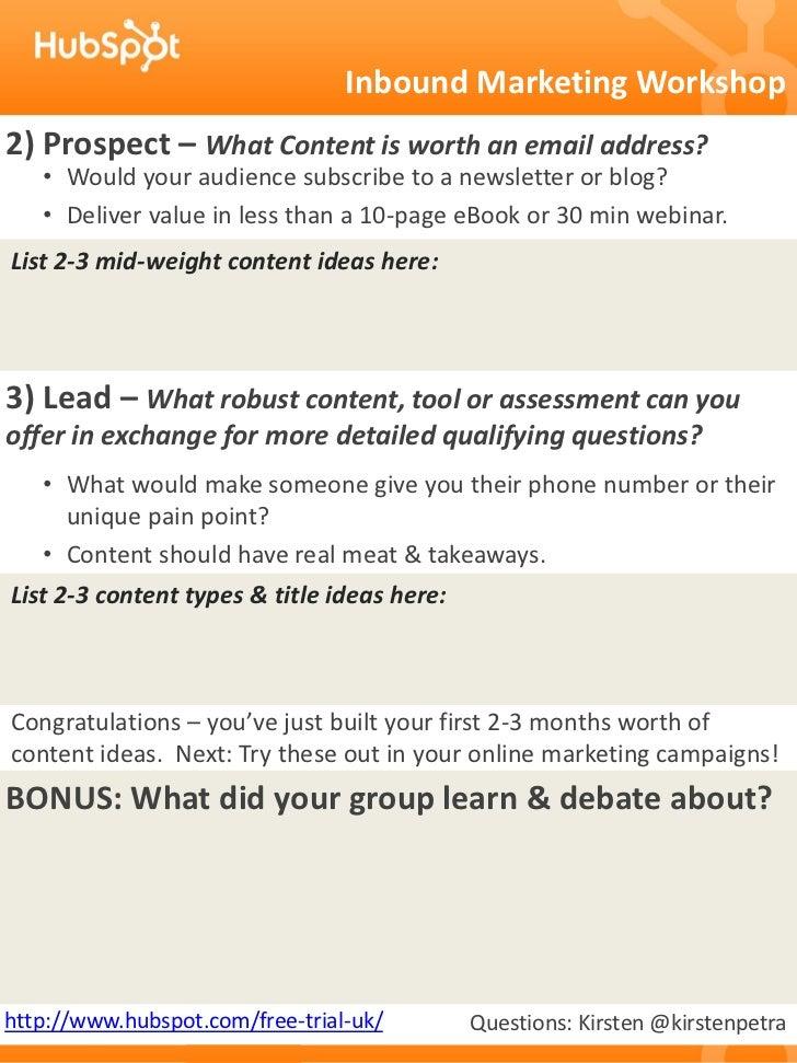 Inbound Marketing Content Workshop Slide 2