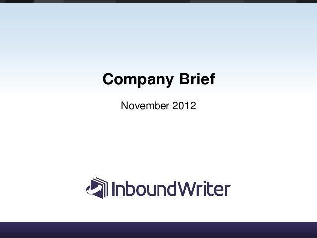 Company Brief  November 2012