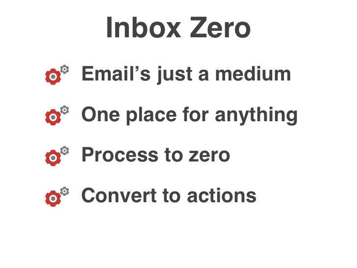 Inbox Zero Email's just a medium  One place for anything  Process to zero  Convert to actions