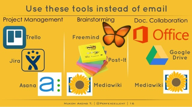Mukom Akong T. | @Perfexcellent | Use these tools instead of email 16 Project Management Brainstorming Doc. Collaboration ...