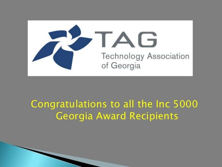 Congratulations to all the Inc 5000    Georgia Award Recipients