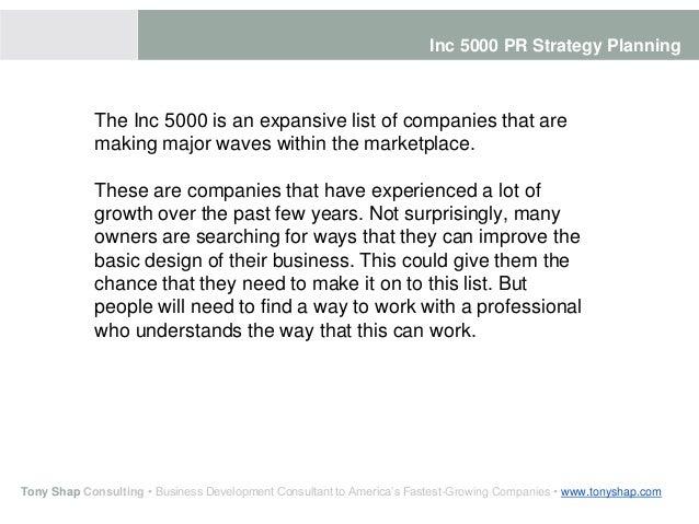 Inc 5000 PR Strategy Planning Slide 2