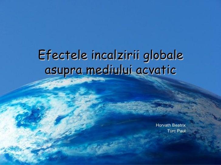 Efectele incalzirii globale asupra mediului acvatic Horvath Beatrix Turc Paul