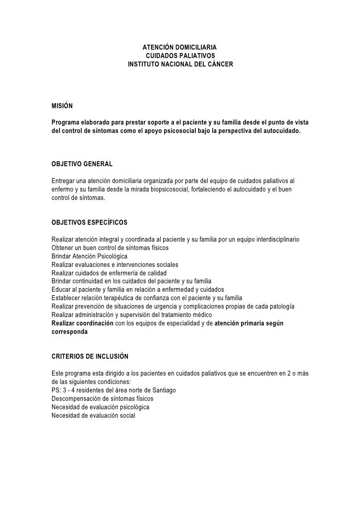 ATENCIÓN DOMICILIARIA                                    CUIDADOS PALIATIVOS                              INSTITUTO NACION...