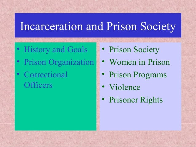 Incarceration and Prison Society • History and Goals • Prison Organization • Correctional Officers • Prison Society • Wome...
