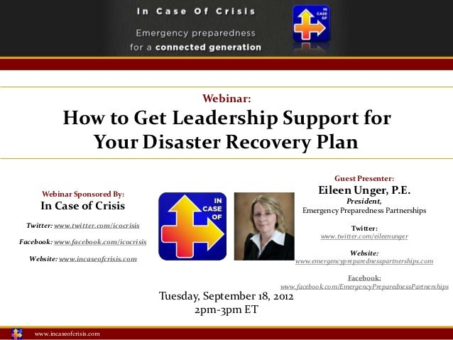 Webinar:             How to Get Leadership Support for               Your Disaster Recovery Plan                          ...