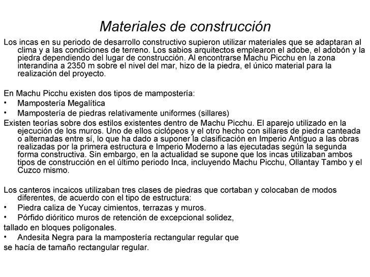 Analisis arquitectonico de los incas - Tipos de materiales de construccion ...