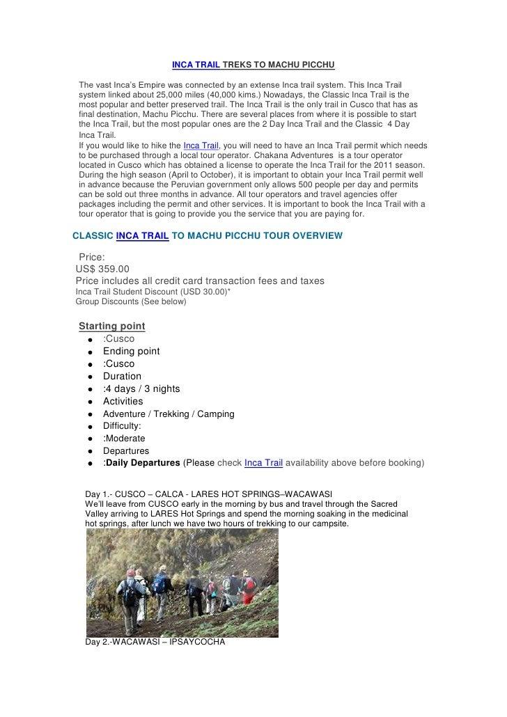 "HYPERLINK ""http://www.chakanatourperu.com/"" INCA TRAIL TREKS TO MACHU PICCHU<br />The vast Inca's Empire was connected by..."