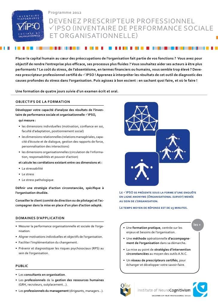 Programme 2012                         devenez PrescriPteur Professionnel                         IPSo (InventaIre de Per...