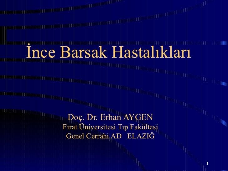 İnce Barsak Hastalıkları      Doç. Dr. Erhan AYGEN     Fırat Üniversitesi Tıp Fakültesi      Genel Cerrahi AD ELAZIĞ      ...