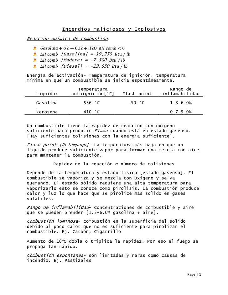 Incendios maliciosos y ExplosivosReacción química de combustión:              [Gasolina] =-19,250              [Madera] = ...