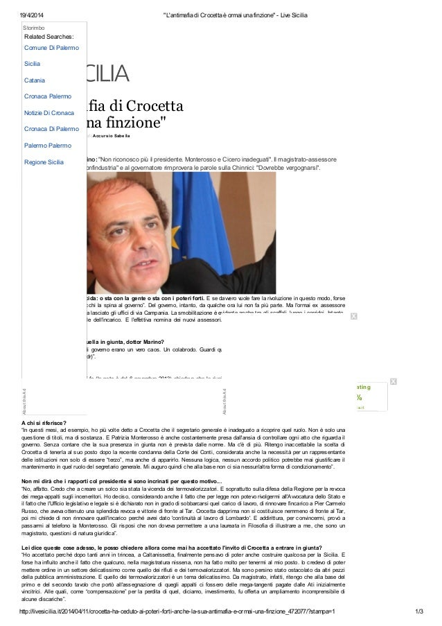 """19/4/2014 """"L'antimafia di Crocetta è ormai una finzione"""" - Live Sicilia http://livesicilia.it/2014/04/11/crocetta-ha-cedut..."""