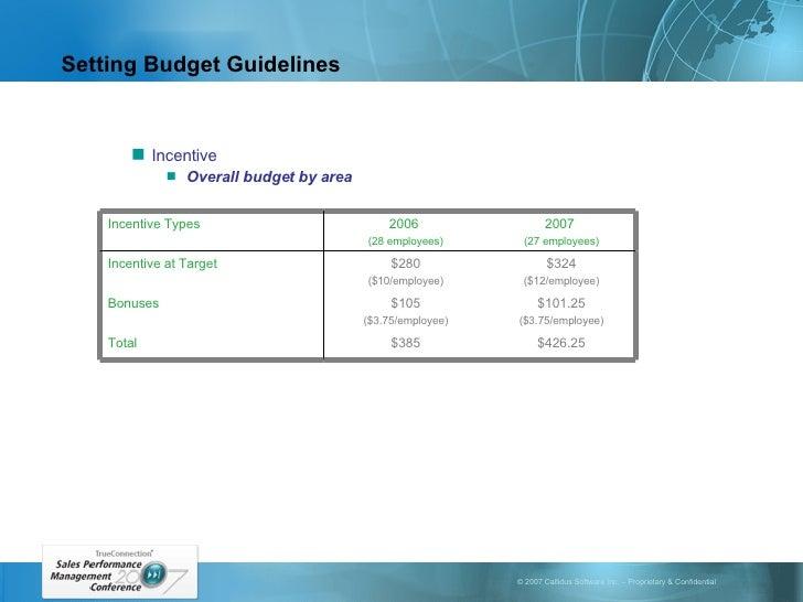 Setting Budget Guidelines <ul><ul><li>Incentive </li></ul></ul><ul><ul><ul><li>Overall budget by area </li></ul></ul></ul>...
