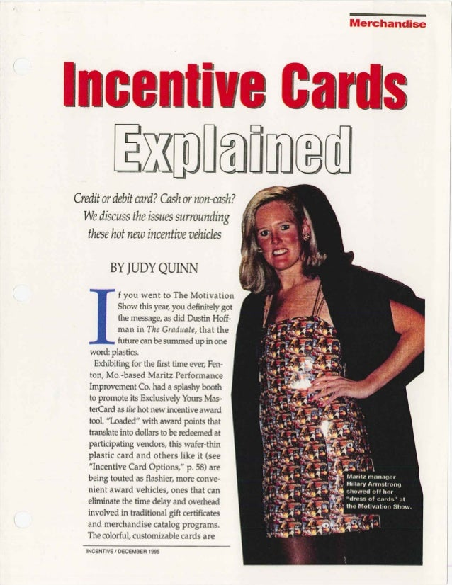 Incentive Cards Explained - Incentive Mag Dec 1995