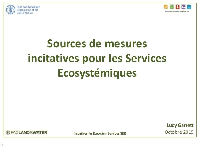 1 Sources de mesures incitatives pour les Services Ecosystémiques Incentives for Ecosystem Services in Agriculture (IES) L...