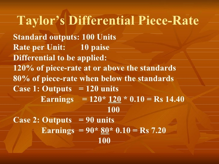 Taylor's Differential Piece-Rate  Standard outputs: 100 Units Rate per Unit:  10 paise Differential to be applied:  120% o...