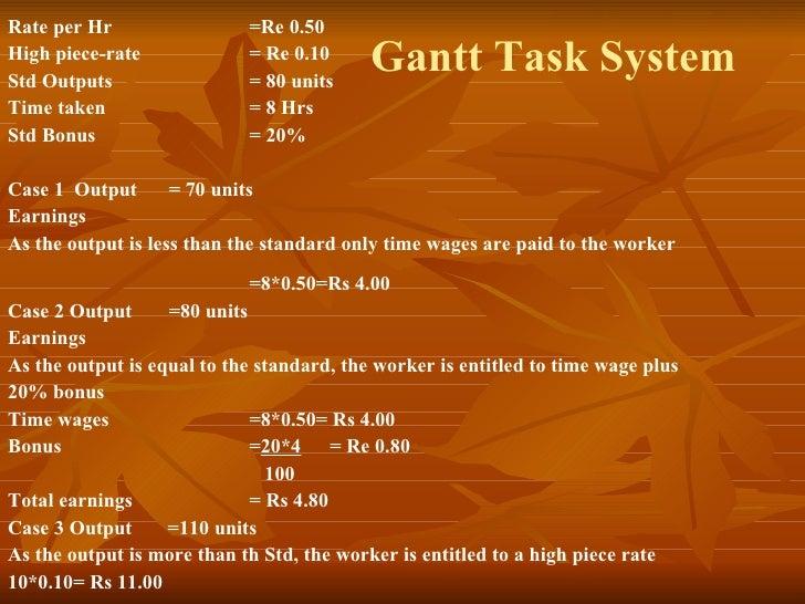 Gantt Task System Rate per Hr =Re 0.50 High piece-rate  = Re 0.10 Std Outputs = 80 units Time taken = 8 Hrs Std Bonus  = 2...
