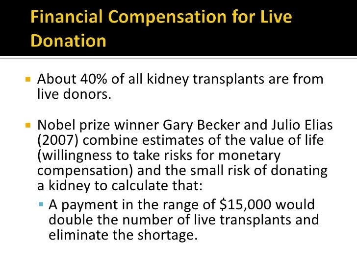financial incentives on organ donation The ethics of solving the transplant organ shortage posted on february 18, 2014 by kevin jiang since the first successful kidney transplant in 1954, outcomes have improved dramatically for patients who undergo the often life-saving procedure today, kidneys are the most commonly and reliably transplanted organs, representing the.