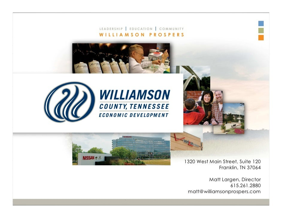 1320 West Main Street, Suite 120             Franklin, TN 37064        Matt Largen, Director                 615.261.2880 ...