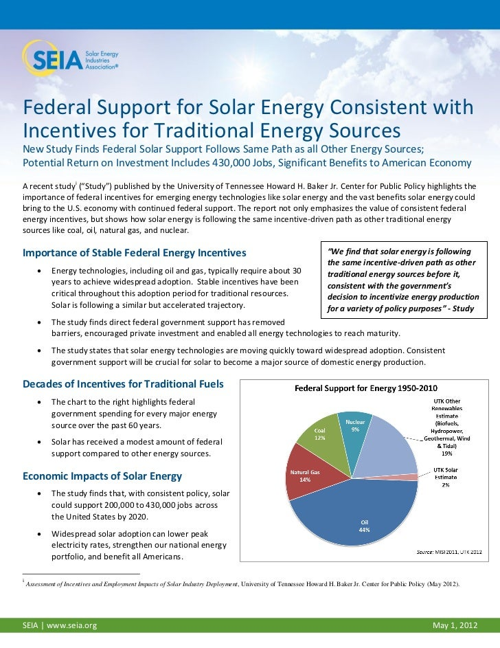 Federal Support for Solar Energy Consistent withIncentives for Traditional Energy SourcesNew Study Finds Federal Solar Sup...