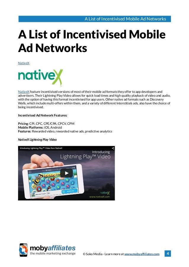 Incentivised Mobile Ad Networks List