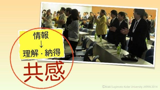 情報 ↓ 理解・納得 共感 ⒸMaki Sugimoto Kobe University JAPAN 2014