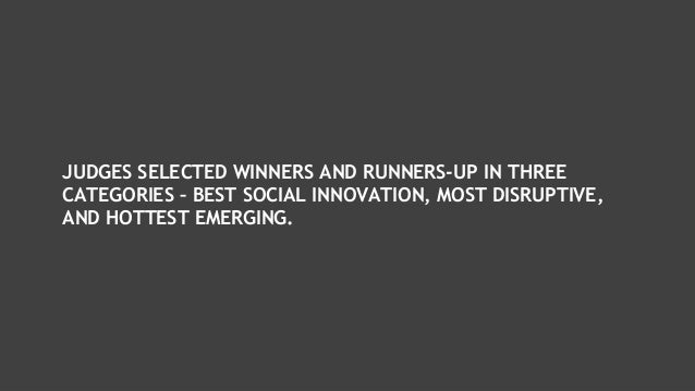 JUDGES SELECTED WINNERS AND RUNNERS-UP IN THREE CATEGORIES – BEST SOCIAL INNOVATION, MOST DISRUPTIVE, AND HOTTEST EMERGING.