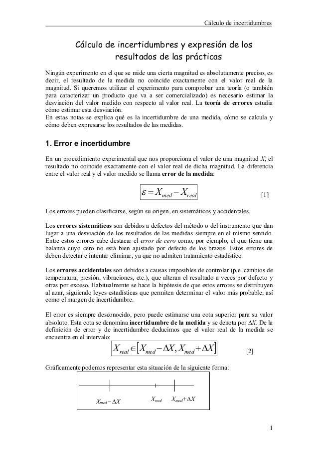 Cálculo de incertidumbres           Cálculo de incertidumbres y expresión de los                     resultados de las prá...