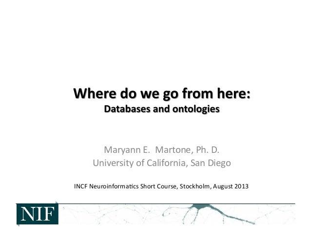 Maryann  E.    Martone,  Ph.  D.   University  of  California,  San  Diego   INCF  Neuroinforma>cs...