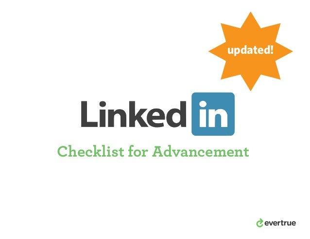 updated!  Checklist for Advancement