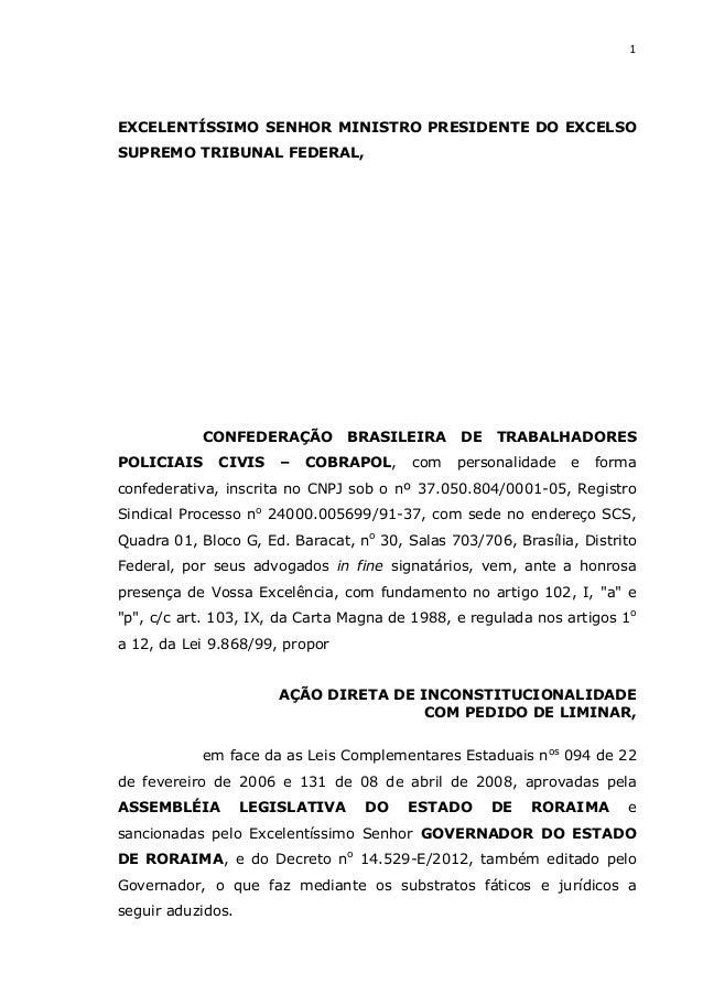 1EXCELENTÍSSIMO SENHOR MINISTRO PRESIDENTE DO EXCELSOSUPREMO TRIBUNAL FEDERAL,           CONFEDERAÇÃO          BRASILEIRA ...
