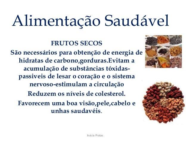 Alimentação Saudável FRUTOS SECOS São necessários para obtenção de energia de hidratas de carbono,gorduras.Evitam a acumul...