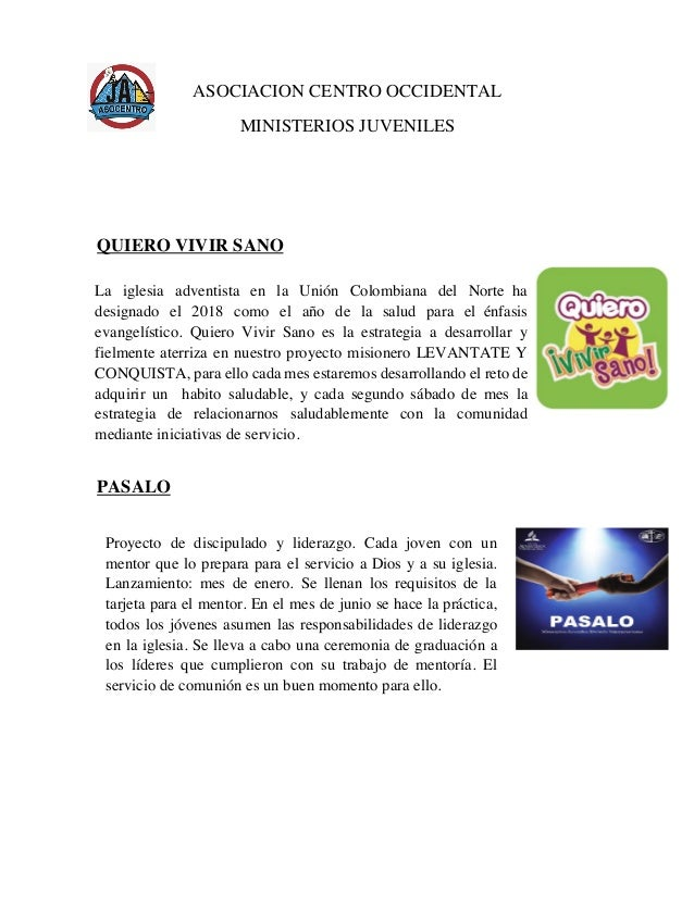 ASOCIACION CENTRO OCCIDENTAL MINISTERIOS JUVENILES QUIERO VIVIR SANO PASALO                   Proyecto d...