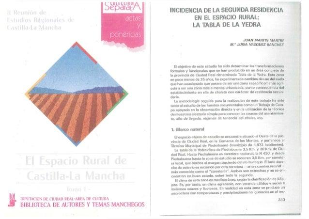 Incidencia de la  Segunda  Residencia en el Espacio Rural (la Tabla de la Yedra)