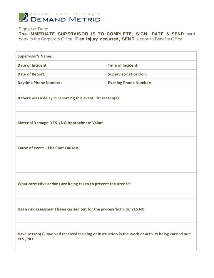Incident Reporting Form Free Construction Incident Report Template