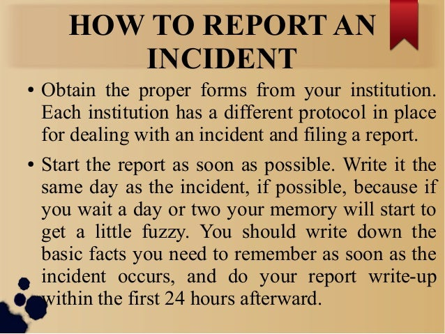 Incident reporting – Patient Incident Report Form