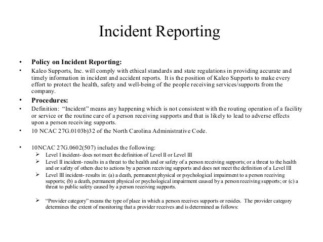 Incident reporting – Incident Report