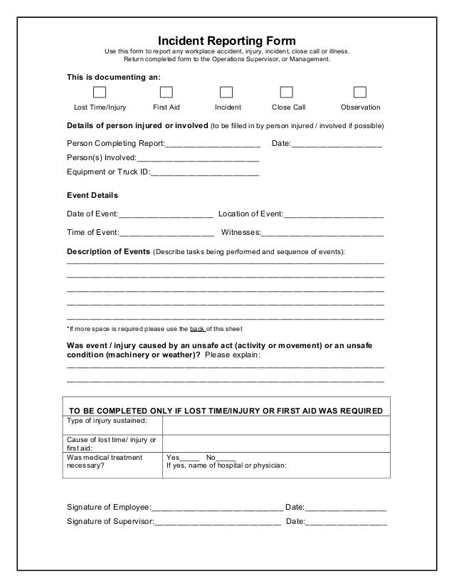 Incident Reporting Form Use This Form To Report Any Workplace Accident,  Injury, Incident,  Injury Incident Report Form Template