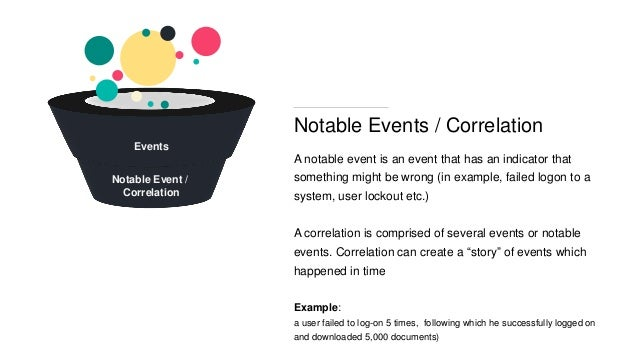 Notable Events / Correlation A notable event is an event that has an indicator that something might be wrong (in example, ...
