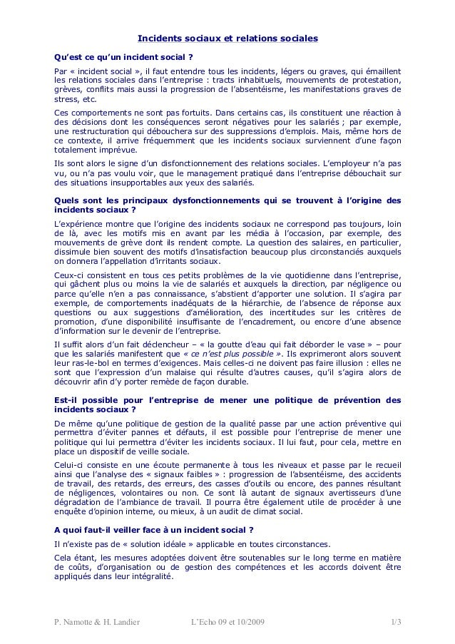 P. Namotte & H. Landier L'Echo 09 et 10/2009 1/3 Incidents sociaux et relations sociales Qu'est ce qu'un incident social ?...
