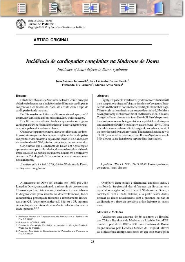 28 Jornal de Pediatria - Vol. 71, Nº1, 1995 ARTIGO ORIGINAL 0021-7557/95/71-01/28 Jornal de Pediatria Copyright ©1995 by S...