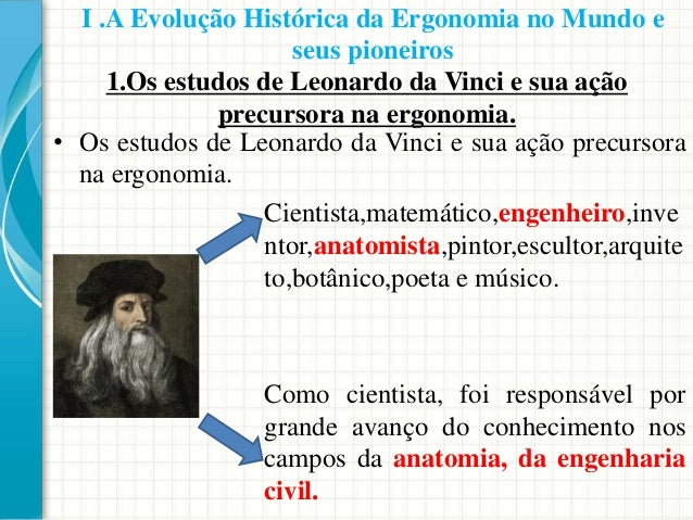 1.Os estudos de Leonardo da Vinci e sua ação precursora na ergonomia. • Os estudos de Leonardo da Vinci e sua ação precurs...