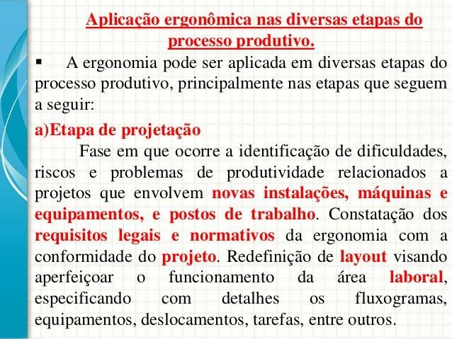 Aplicação ergonômica nas diversas etapas do processo produtivo.  A ergonomia pode ser aplicada em diversas etapas do proc...