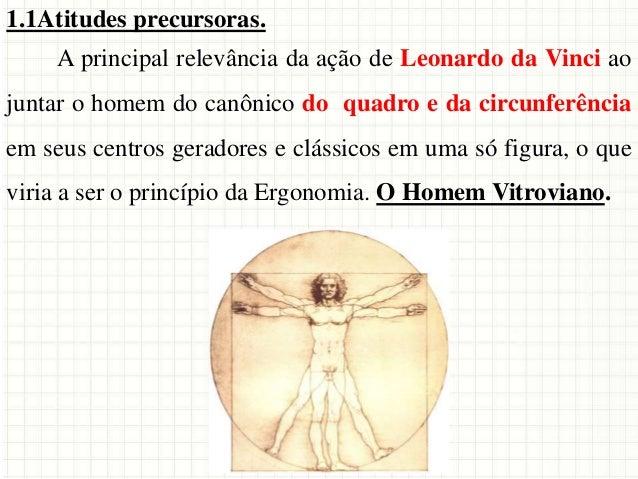 1.1Atitudes precursoras. A principal relevância da ação de Leonardo da Vinci ao juntar o homem do canônico do quadro e da ...
