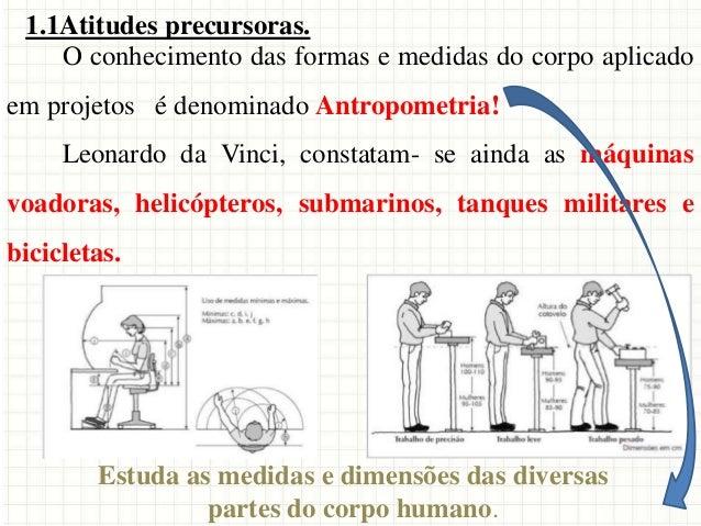 O conhecimento das formas e medidas do corpo aplicado em projetos é denominado Antropometria! Leonardo da Vinci, constatam...