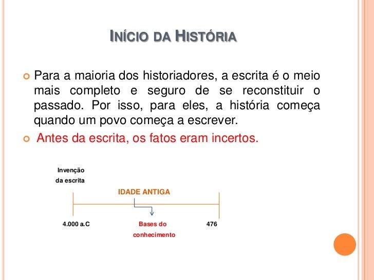 INÍCIO DA HISTÓRIA Para a maioria dos historiadores, a escrita é o meio  mais completo e seguro de se reconstituir o  pas...
