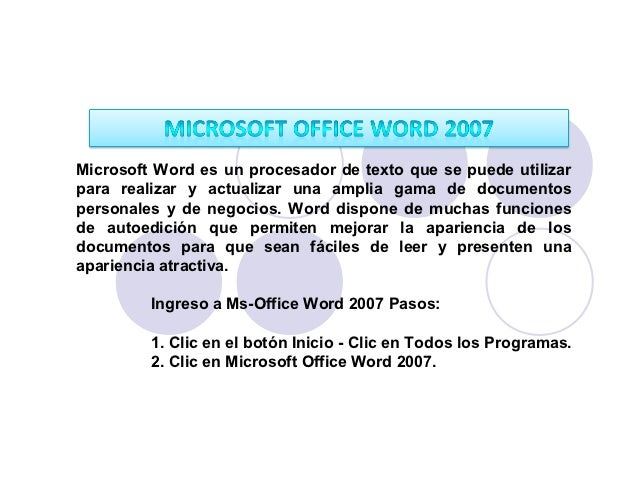 Microsoft Word es un procesador de texto que se puede utilizarpara realizar y actualizar una amplia gama de documentospers...